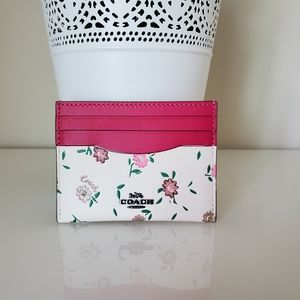 Coach Card Case with Block Floral Print